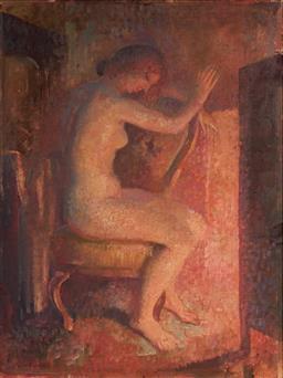 Sale 9125 - Lot 534 - Arthur Murch (1902 - 1989) Fireside Nude oil on board 59.5 x 44.5 cm (frame: 78 x 62 x 3 cm) signed lower left