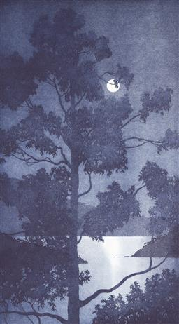 Sale 9212A - Lot 5072 - PETER HICKEY (1943 - ) Harbour Moon, 1998 aquatint ed. 25/25 (unframed) 64.5 x 36 cm (sheet: 80 x 36cm) signed and dated lower right