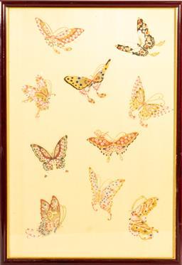 Sale 9211 - Lot 75 - Butterflies, Paper on Silk (40cm x 58cm)