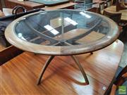 Sale 8451 - Lot 1081 - Good g-plan atmos spider coffee table with glass top