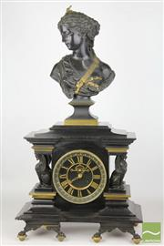 Sale 8481 - Lot 1 - 19th Century Black Slate And Bronze Mantle Clock