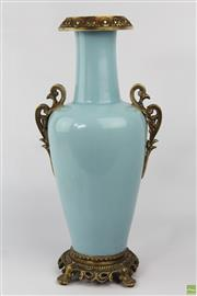 Sale 8594 - Lot 46 - Blue Chinese Vase with Ornate Mounts, Marks to Base (H 42cm)