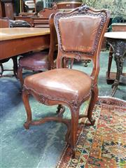 Sale 8617 - Lot 1071 - Good Set of Six French Carved Walnut Chairs, in the Louis XV manner, with studded brown leather backs & seats, raised on cabriole le...
