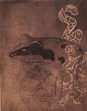 Sale 8666A - Lot 5079 - Frank Hodgkinson (1919 - 2001) - Frog and Water Spirit, 1984 24.5 x 20cm (frame size: 81 x 57cm)
