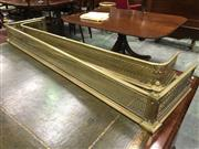 Sale 8666 - Lot 1045 - Victorian Brass Fire Guards, one with finials to corner, the other D  fronted