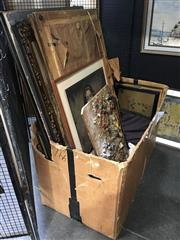 Sale 8711 - Lot 2058 - Box of Assorted Art incl. original paintings and tapestries (box not included)