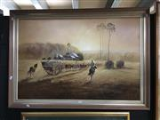 Sale 8753 - Lot 2087 - M Benson - Roundin Up the Herd acrylic on canvas on board, 74 x 104cm (frame), signed lower right -