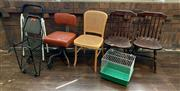Sale 8804A - Lot 175 - A group lot, to include four various chairs, a step-ladder, a basket trolley and a pet carrier
