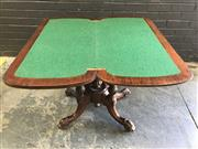Sale 9048 - Lot 1059 - Victorian Walnut Card Table, with rounded corners, on turned bird-cage base with four outswept legs (h:72 x w:92 x d:45cm)