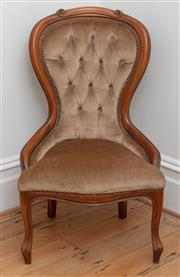 Sale 9070H - Lot 20 - A grandmother chair with button back upholstered in olive green velvet, height of back 90cm
