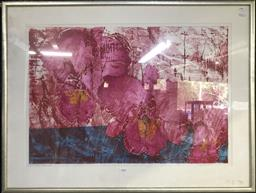 Sale 9103 - Lot 2026 - Artist Unknown (Japan) Still Life - Pink Flowers screenprint  69 x 91 cm (frame) signed