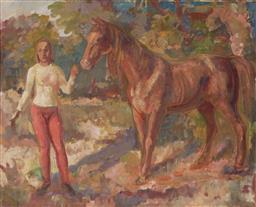 Sale 9125 - Lot 555 - Arthur Murch (1902 - 1989) - Untitled (Woman and Horse) 59.5 x 75 cm (frame: 72 x 87 x 4 cm)