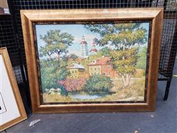 Sale 9127 - Lot 2008 - Russian School - Town Scene & Church Domes frame: 78 x 98 cm