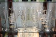 Sale 8340 - Lot 92 - Krosno Claret Wine Glasses with Other Glass Wares incl Etched Champagnes