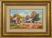 Sale 8433 - Lot 2006 - Otto Kuster (1941 - ) - Upper Kangaroo Valley Homestead, 1972 11.5 x 19cm