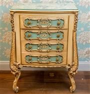 Sale 8500A - Lot 36 - A baroque style chest of 4 drawers featuring floral handpainted detail, custom fitted glass top & decorative brass pulls - Condition...