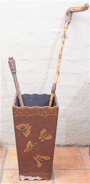 Sale 8550H - Lot 7 - An oriental style timber and tin umbrella stand with butterfly motifs holding sundry implements together with a quantity of straw hats