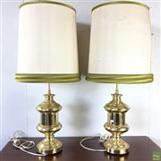 Sale 8649R - Lot 20 - Pair of Gilt Brass Table Lamps with Shades (H: 93.5cm)