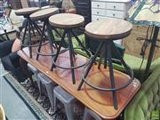Sale 8648C - Lot 1088 - Set of Four Timber Top Stools on Black Tapering Base