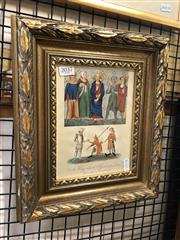 Sale 8841 - Lot 2037 - A hand-coloured engraving of A King with the Officers of his Court (from a M.S. of the 14th Century),  33 x 28cm (frame)