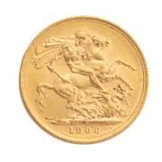 Sale 8855H - Lot 53 - 1906 gold sovereign weight approx 7.95g, M above 1906