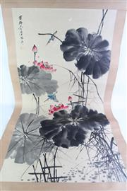 Sale 8860V - Lot 100 - Large Chinese scroll of lotus (L202cm)
