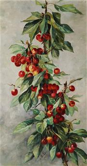 Sale 8938A - Lot 5083 - Artist Unknown (Early C20th) - Cherries Still Life, 1904 64 x 30.5 cm (frame: 76.5 x 48 x 4 cm)
