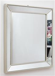 Sale 9070H - Lot 14 - A contemporary mirror of rectangular form with mirrored frame and beading 42cm x 52cm