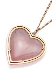 Sale 9083 - Lot 311 - A ROSE QUARTZ HEART PENDANT 32 x 33mm double cabochon rose quartz heart set in a 2 row 14ct frame, wt. 17.13g, on a metal chain.