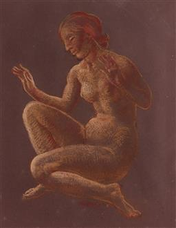 Sale 9125 - Lot 600 - Arthur Murch (1902 - 1989) Sitting Nude pastel on paper 46.5 x 36 cm (frame: 77 x 64 x 5 cm) signed lower centre