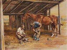 Sale 9150 - Lot 578 - JOHN CORNWELL (1930 - ) Bill & Ben Shoe the Bay oil on canvas on board 44 x 59 cm (frame: 60 x 75 x 4 cm) signed lower right