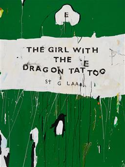Sale 9212A - Lot 5015 - BEN TANKARD Unpopular Pengins 60: The Girl with the Dragon Tattoo, 2016 oil on canvas 122.5 x 91.5 cm signed, dated and titled verso