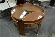 Sale 8511 - Lot 1062 - Circular Nathan Nest of Tables with Glass Top