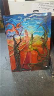 Sale 8433 - Lot 2039 - Unframed Landscape with Figure, Signed Oil Certified On The back