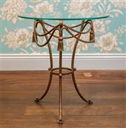 Sale 8500A - Lot 37 - An rare vintage Italian tole side table with glass top, featuring rope swags & tassles - Condition: Very Good - Measurements: 58cm h...