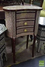 Sale 8542 - Lot 1001 - Mother of Pearl Inlaid Kidney Shaped Side Table with Three Drawers