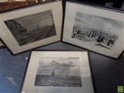 Sale 8561 - Lot 2092 - Maurice Branger (3 works) - Travels in Paris; London to Manchester; Tall Ship at Sea and Aeroplane 26 x 38cm, each (frame size: 4