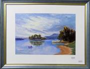Sale 8563T - Lot 2054 - Coral Benson - The Lone Rower, oil on board, 26 x 36cm, signed left