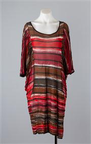 Sale 8685F - Lot 94 - A Marina Rinaldi semi sheer dress with batwing sleeves, striped and metallic in earth tones, size large