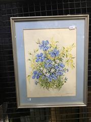 Sale 9024 - Lot 2028 - M. Monteath - Floral Still Life, watercolour, SLR