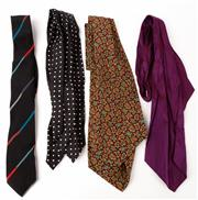 Sale 9080F - Lot 24 - A SET OF THREE 100% SILK CRAVATS together with a Pierre Cardin tie all in various colours and prints