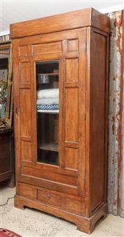 Sale 9060H - Lot 16 - A continental style single door robe with central glass opening to reveal a three shelved interior over a single drawer. H195 x W 93...