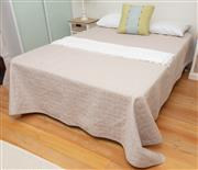 Sale 9070H - Lot 35 - A queen size bed and bedding including a silk cushion a throw, Width 155cm