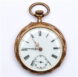 Sale 9107 - Lot 23 - 14k gold pocket watch (Crack To Dial)
