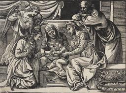 Sale 9125 - Lot 587 - Niccolo Boldrini (c.1500 – c.1566) - Marriage of St Catherine, After Titian 33 x 46 cm (55 x 65 x 2 cm)