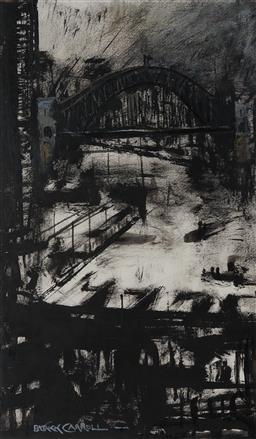 Sale 9125 - Lot 502 - Patrick Carroll (1949 - 2019) Approaching Storm, Circular Quay acrylic and dry brush on paper 38.5 x 22.5 cm (frame: 61 x 46 x 2 cm)...