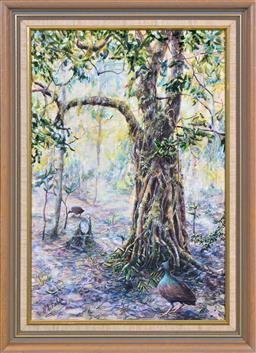Sale 9127 - Lot 2086 - P Shultz Majestic Tree and Foraging Birds gouache, 49.5 x 33cm, signed -