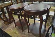 Sale 8418 - Lot 1030 - Pair of Tiered Circular Side Tables w Inlaid Top