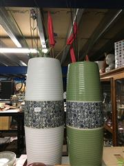 Sale 8688 - Lot 1047 - Pair Of Modern Green And White Vases
