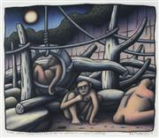 Sale 8722 - Lot 538 - Reg (Chris ODoherty) Mombassa (1951 - ) - Ogre Moon: Alpha Males Relax in the Corporate (200) Early Evening, 2010 40 x 47.5cm